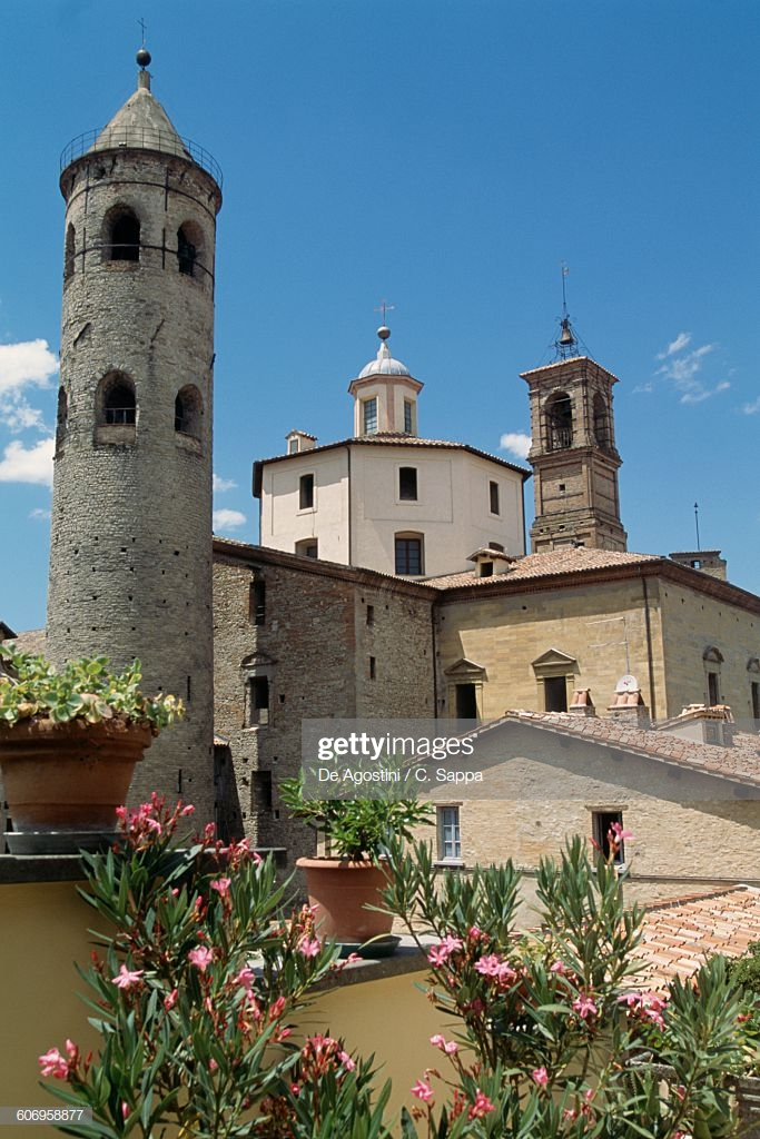 View of Citta di Castello with the cylindrical bell tower of the cathedral, Umbria. Italy, 11th-12th century.
